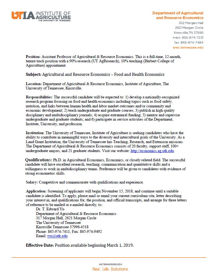 Position announcement for Assistant Professor focused in food and health economics
